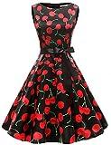 Gardenwed Damen 1950er Vintage Cocktailkleid Rockabilly Retro Schwingen Kleid Faltenrock Black Cherry XL