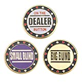 51 2ukgTk6L. SL160  - NO.1 BETTING GOGO Metal Chip Poker Buttons - Small Blind, Big Blind and Dealer