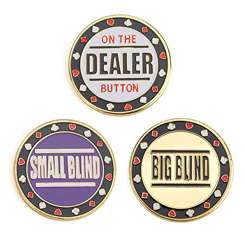 NO.1 BETTING GOGO METAL CHIP POKER BUTTONS – SMALL BLIND, BIG BLIND AND DEALER