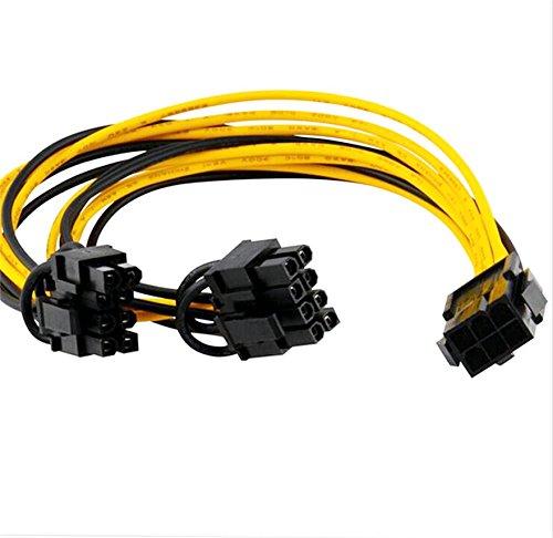 Dkey Molex Y-Kabel 1in 6Pin und 2out 8Pin (6+ 2) für Videokarten doppelte Stromversorgung oder Riser Mining