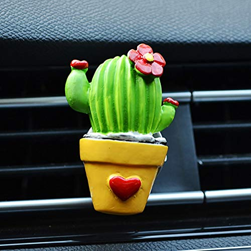 kgftdk Cruscotto dell'automobile Decorazione 3D Cactus Fiore Aromatizzante in Car Profum Deodorante per Auto Profumo Aroma Diffusore Air Vent Clip Auto Accessorio Creativo Deco