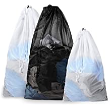 Eono Essentials Set of 3 Sturdy Mesh Laundry Bag - 2 Extra Large&1 Large with Drawstring Closure for College, Dorm and Apartment Dwellers