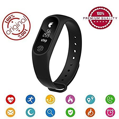 Generic M2 Smart Bracelet / Fitband / fitness Band with Heart Rate Monitor OLED Display Bluetooth 4.0 Waterproof Sports Health Activity Fitness Tracker Bluetooth Wristband Pedometer Sleep Monitor Waterproof Smart Bracelet Support Pedometer / Sleep Monitoring / Call Reminder / Clock / Remote camera / Anti-lost Function /OLED Display / Compatible with all Android, Samsung, iPhone , Lenovo, XIOMI, REDMI Oppo, VIVO, Motorola,IOS, Windows with activity trackers and fitness band features (BLACK)