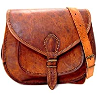Handmade Genuine Leather Ladies Satchel Purse Handbag Vintage Cross-body Bag