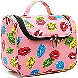 CLOTHES- Version coréenne Sac cosmétiques portable Sac de lavage portable haute capacité Travel Cosmetics Storage Package Travel Waterproof PU Bag ( Couleur : Pink lips )