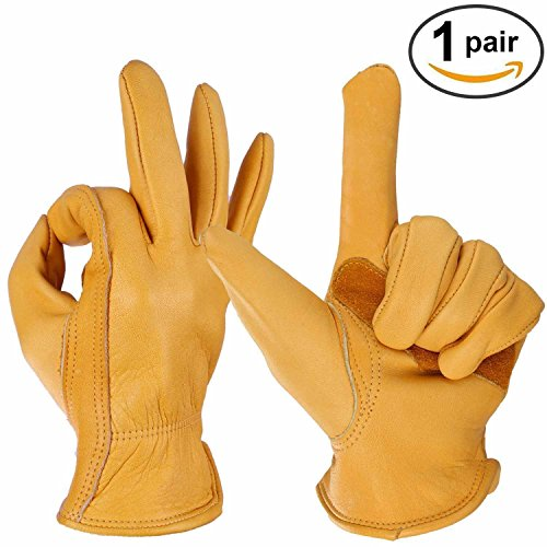 SY-Online Outdoor Winter Warme Handschuhe für Herren Damen Lederarbeitshandschuhe Motorradhandschuhe FahrradHandschuhe Winddicht Thermisch Rindslederhandschuhe Trekking Gelb 1 Paar, 黄色, XL