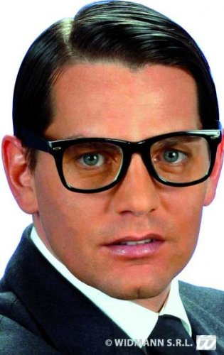 Brille Kunststoff–Austin–Transparente Gläser–Schwarz (Austin Powers-halloween-kostüme)