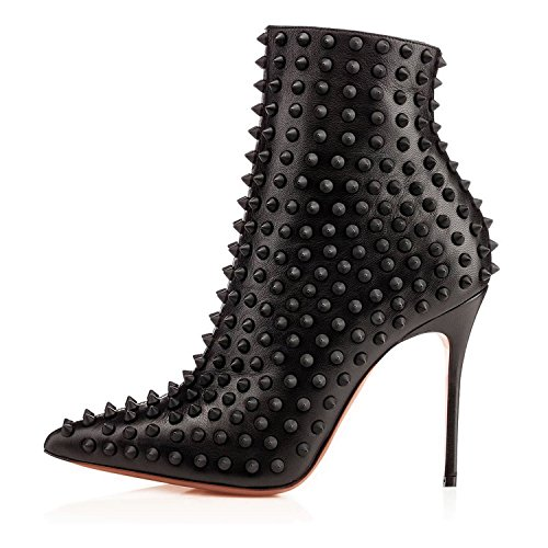 Arc-en-Ciel Damenschuhe spitzen Zehe gespickt Stiefel Schwarz