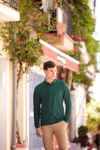 Fruit of the Loom Prime Polo à manches longues verde (Forest green)