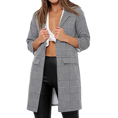 Juleya Damen Elegant Blazer Strickjacke - Herbst und Winter Frauen Klassisch Karierte Mantel Cardigan Beiläufige Langarm Oberteile Outwear