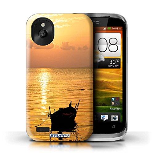 Kobalt® Imprimé Etui / Coque pour HTC Desire X / limite forestière conception / Série Coucher du Soleil Bateau de pêche
