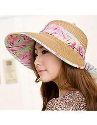 LKMNJ La Sra. Sun Sombreros Sombreros Sombrero de Paja de cinta vacía decoración Top Beach ,caqui