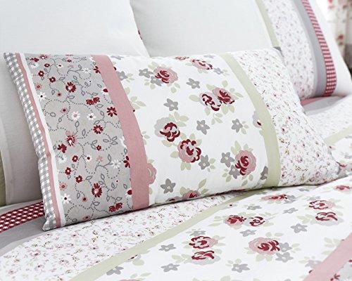 Sommer Kollektion Garten Blumen 200Fadenzahl Schöne printedeasy Care Bettdecke Bettwäsche Set Rosa/Grau mit frei Kissen Fall, Boudoir Cushion -