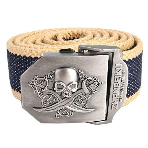 Faleto Herren Militär Gürtel Stoffgürtel mit Schädel Totenkopf Schnalle Leinwand Canvas Jeansgürtel Belts 140cm + Original Geschenkbox (Khaki-Blau)