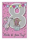 Depesche 5698.016 - Glückwunschkarte mit Musik, 8. Geburtstag, rosa
