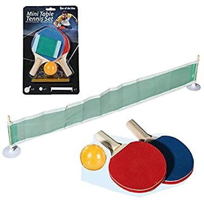 MINI TABLE TENNIS NET RACK PORTABLE FUN GAMES 2 RACKETS BALL HOME PING PONG SET by BARGAINS-GALORE