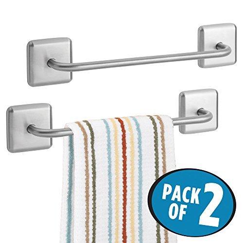 mDesign Juego de 2 toalleros adhesivos para baño y cocina ? Elegante toallero de barra de acero inoxidable para paños de cocina y toallas ? Accesorios de baño sin taladro ? plateado
