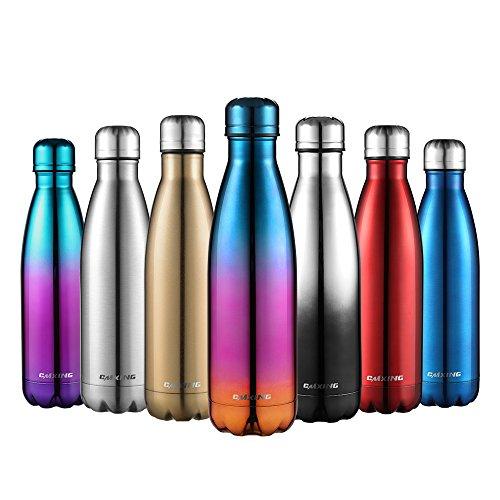 Cmxing Doppelwandige Thermosflasche 500 mL mit Tasche BPA-Frei Edelstahl Trinkflasche Vakuum Isolierflasche Sportflasche für Outdoor-Sport Camping Mountainbike (Blau+Lila+Rot, 500 mL)