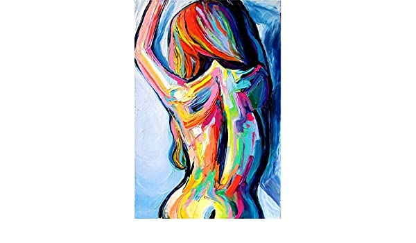 Oilyy Hand Painted Oil Paintings Hand Painted Women Body Canvas Painting Abstract Poster Home Decoration Wall Picture For Living Room Bedroom Bar Decoration Amazon Co Uk Kitchen Home