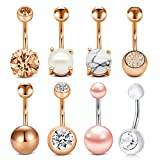 Incaton 8stk Bauchnabelpiercing Barbell 14 Gauge Edelstahl Rose Gold Piercing Schmuck Set