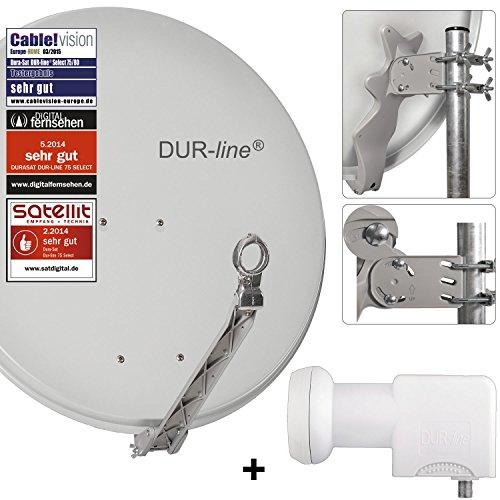 DUR-line 24 Teilnehmer Unicable-Set - Qualitäts-Alu-Satelliten-Komplettanlage - Select 75/80cm Spiegel/Schüssel Hellgrau + Unicable LNB(UK 124) - für 24 Receiver/TV [Neuste Technik, DVB-S2, 4K, 3D]