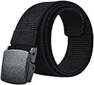 JY_shop Mens Belt Nylon Webbing Canvas Outdoor Web Belt with Automatic Click Buckle Can Pruning Enclosed in an