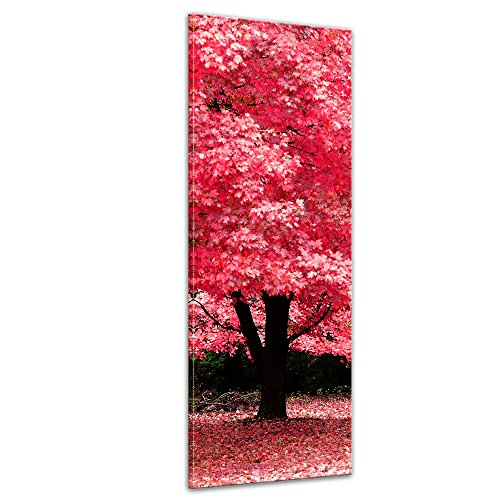 Wandbild - Herbst Abstrakt - Bild auf Leinwand - 30 x 90 cm - Leinwandbilder - Bilder als Leinwanddruck - Pflanzen & Blumen - Natur - rötlicher Blätterwald