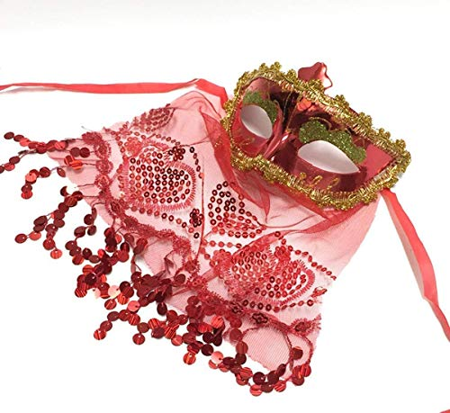 Themen Kostüm Tier Tanz - Xiao-masken Maske Maskerade Abschlussball Maske Party/Dinner Party/Halloween/Weihnachten Maske Tanz Bauchtanz Jährlich Indien Wind Tanzschleier Maske Gules (Farbe: Rot)