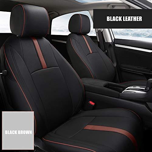 Coprisedili Auto Su Misura, 5 Pezzi Completo Coprisedili Per Auto Per Toyota Hyundai Kia Lexus Bmw Impermeabile 5 Colori Quattro Stagioni (Black Brown)