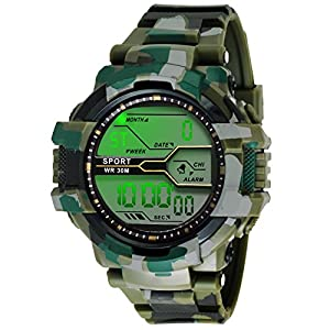 ZIERA Digital Men's Watch (Black Dial Multicolour Strap)