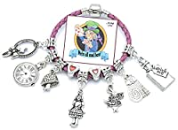 Children's 'Alice in Wonderland' Pink Leather Charm Bracelet with Gift Box and Insert (15)