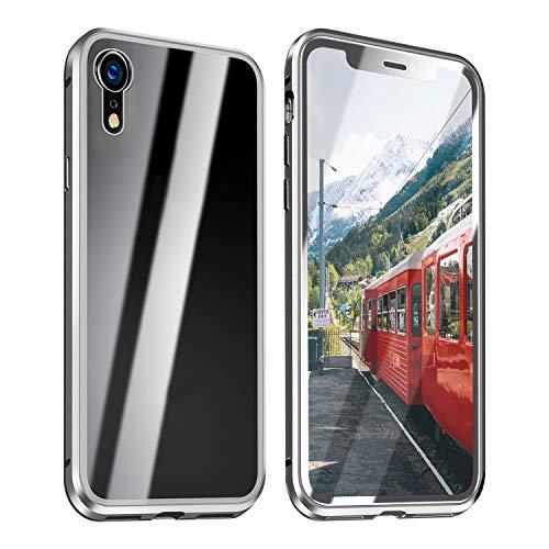 ZXK CO iPhone XR Hülle 360 Grad,Einteiliges Magnet Vollbildabdeckung Gehärtetes Glas Handyhülle mit Panzerglas Rückseite Vorne & Hinten Case Cover für iPhone XR 6.1 Zoll