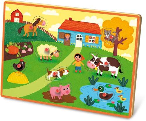 Vilac 30x 21x 2cm Farm Musical Peg Puzzle (8-teilig)