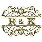 M 73cm x 56cm Design semplice Sposa e sposo Nome iniziali Retro stile occidentale Personalizzato Decalcomanie da sposa Art Wedding Floor Stickers Wallpaper LC1245
