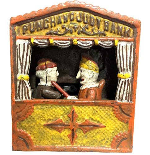 Antiques World Antique Vintage Style Collectible Artistic Heavy Iron Cast Punch & Judy Unique Mechanical Money Bank/Money Box/Coin Box AWUSAMB 05 -