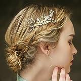 Braut Vintage Gold Haar Kamm Haarband Crystal Strass Haarschmuck Haarspangen Perlen Hochzeit Strass Perlen Hochzeit Haarteile Crystal Strass Perlen Hochzeit Haarschmuck Brauthochzeits-Stirnband