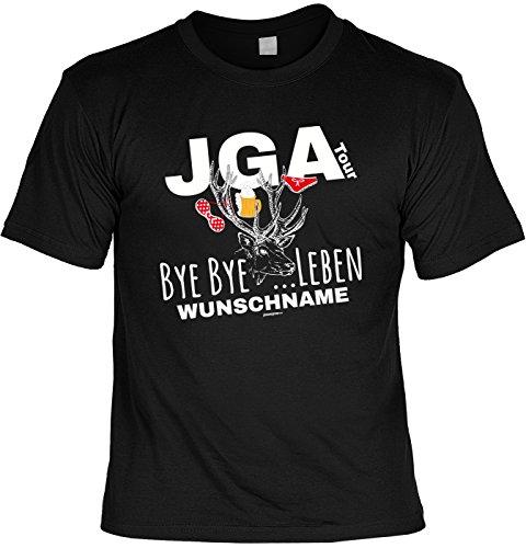 Junggesellenabschieds-Shirt/Party/Herren-Shirt: JGA Tour Bye Bye ?Leben Wunschname Spaß/Fun-Shirt Schwarz