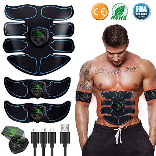 EGEYI Muskelstimulation, EMS Training Muskelstimulator, Elektrisch Gürtel muskelstimulator, Bauchmuskeltrainer Fitness Geräte, Wiederaufladbare Muskeln Trainer Für Männer Frauen Gewicht Abnehmen