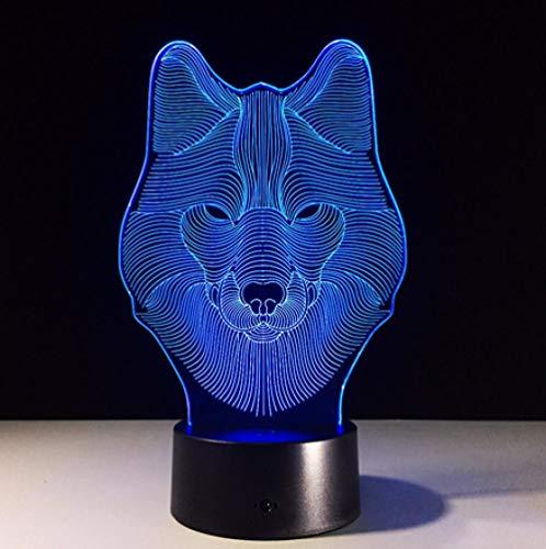 Joplc 3D Illusion Wolf Gesicht Nachtlicht Party Home Decor USB Tisch Acryl Lampe Für Geschenke