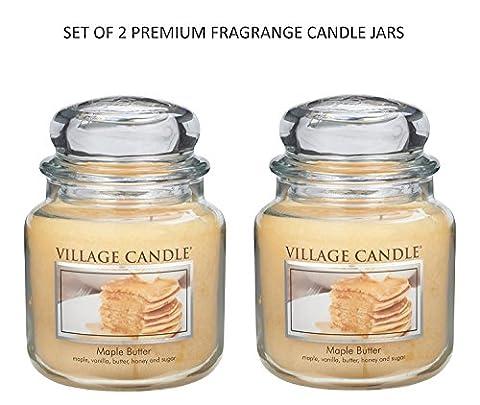 Village Candle - Set 2 Beurre d'érable 16 oz Candles Jar Medium