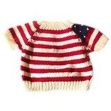 Yatoy love Strick Pullover für Plüschbär Bär Kleidung Spielanzug Tiere Puppe Shirt Kostüme - weiß mit Rot