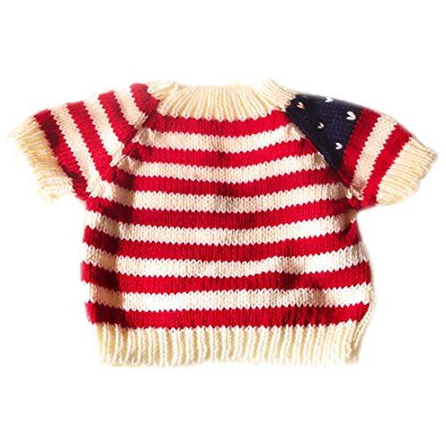 Yatoy love Strick Puppen Pullover für Plüschbär, Shirt für Teddybär Kleidung Spielanzug Tiere Puppe Shirt Kostüme,Teddy Bear Clothes 80cm - weiß mit Rot