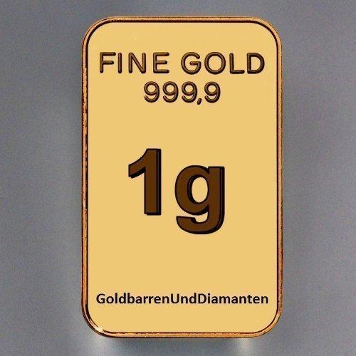 Goldbarren 1 Gramm Feingold 999,9 im Scheckkartenformat LBMA zertifiziert (1 Gramm) (1 Gramm Silberbarren)