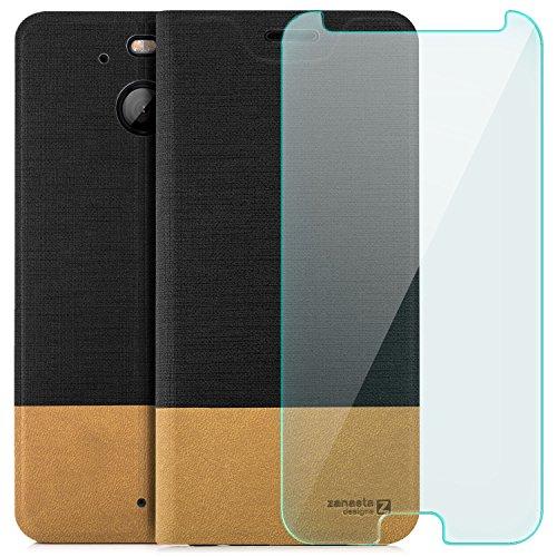 zanasta Designs Tasche HTC 10 Evo Hülle + Panzerfolie Flip Case Slim Schutzhülle Handytasche mit Kartenfach, Standfunktion Schwarz