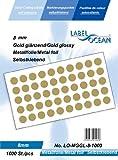 1000 Markierungspunkte, 8mm aus Metallfolie, (Farbpunkte, farbige Klebepunkte), gold glänzend von LabelOcean (R), LO-MGGL-8-1000, Vielzwecketiketten