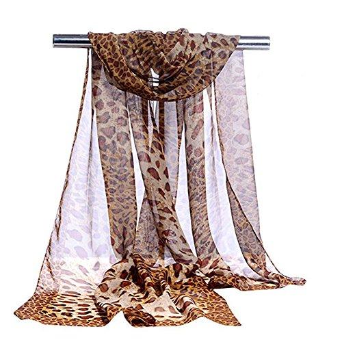 Leopard Scarf Fashionable Leopard Print Long Chiffon Scarves Shawl Wrap For Women or Girls
