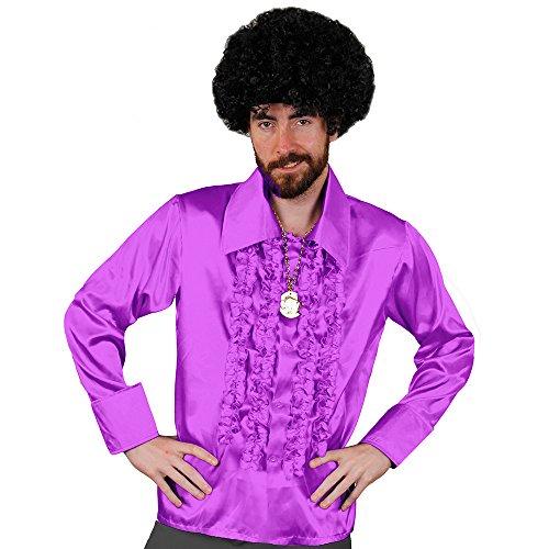 I love Fancy Dress ilfd4602s lila Disco Shirt Deluxe Herren Disco Rüschen Hemd Disco 70er King Fancy Kleid (Love Kostüm Dude)