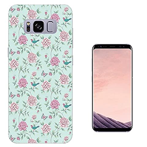 002457 - Floral Vintage Shabby Chic Roses Fleur Girly Collage Design Samsung Galaxy S8 Fashion Trend CASE Gel Rubber Silicone All Edges Protection Case