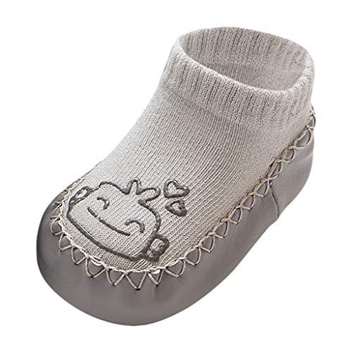 WEXCV Kinder Barfußschuhe, Unisex Baby Mädchen Jungen Lauflernschuhe Atmungsaktive Socken Schuhe Babyschuhe Antirutsch Hüttenschuh Pferd Flache Süßes Muster Herbst Winter Warm Hausschuhe