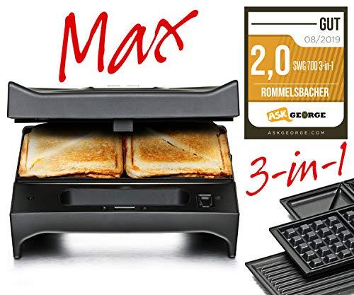 Rommelsbacher SWG 7003en 1Multi Toast & Grill Max (Belga-Sandwichera, gofrera, Grill, 3placas de aluminio fundido intercambiables, de 2capas antiadherente), color negro/acero inoxidable